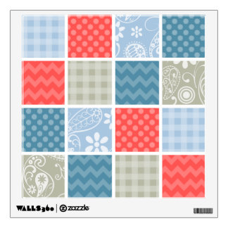 Coral Red-Orange and Light Blue Checkered Patterns Wall Decal