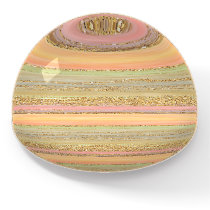 Coral Red Orange Green Gold Stripes Art Pattern Paperweight