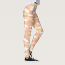 Coral Red Orange Yellow White Camouflage Pattern Leggings