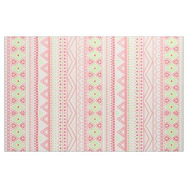Aztec Themed Coral Red Pink Lime Green Aztec Zigzag Pattern Fabric