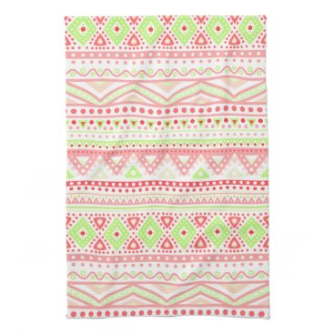 Aztec Themed Coral Red Pink Lime Green Aztec Zigzag Pattern Hand Towel