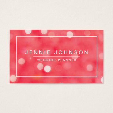 Professional Business Coral Red Pretty Bokeh Business Card