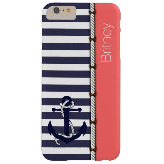 Coral Red Retro Boat Anchor Cute Stripes Pattern Barely There iPhone 6 Plus Case