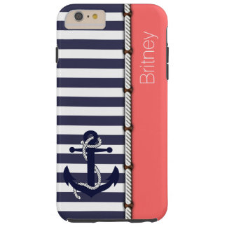 Coral Red Retro Boat Anchor Cute Stripes Pattern Tough iPhone 6 Plus Case