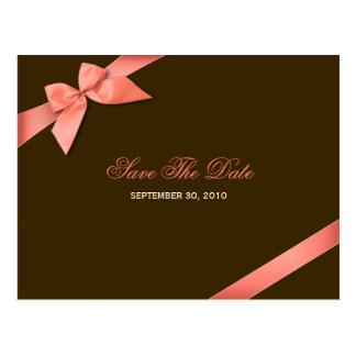 Coral Red Ribbon Save the Date Announcement Postcard