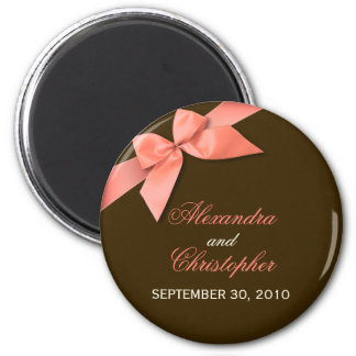 Coral Red Ribbon Save The Date Wedding Announce 2 Inch Round Magnet