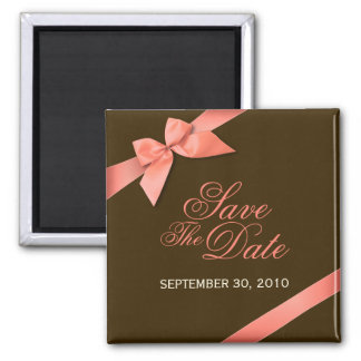 Coral Red Ribbon Save The Date Wedding Announce 2 Inch Square Magnet