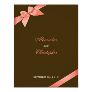 Coral Red Ribbon Wedding Announcement