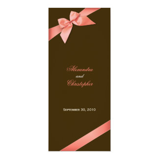 Coral Red Ribbon Wedding Invitation Announcement