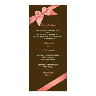 Coral Red Ribbon Wedding Invitation Announcement 2