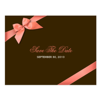 Coral Red Ribbon Wedding Save the Date 2 Postcard