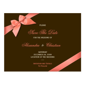 Coral Red Ribbon Wedding Save the Date 4 Postcard