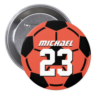 Coral Red Soccer Ball Sports Team Button Pin