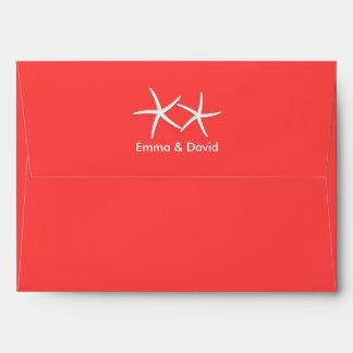 Coral Red Starfish Beach Wedding Envelopes