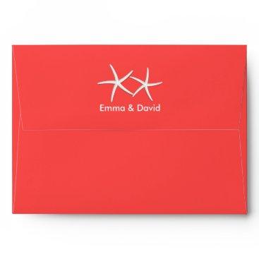 Beach Themed Coral Red Starfish Beach Wedding Envelopes