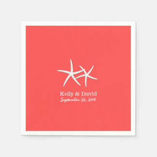 Coral Red Starfish Beach Wedding Napkin