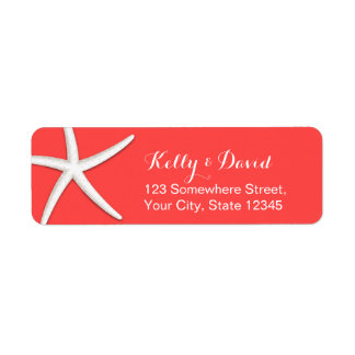 Coral Red Starfish Beach Wedding Return Address Label