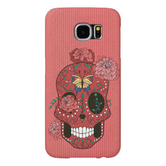 Coral Red Sugar Skull with Marigolds and Butterfly Samsung Galaxy S6 Cases