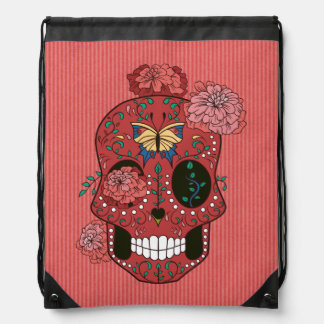 Coral Red Sugar Skull with Marigolds and Butterfly Drawstring Bags