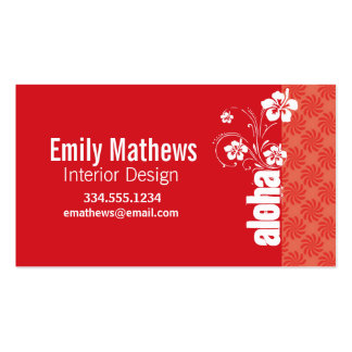 Coral & Red Swirl; Aloha Double-Sided Standard Business Cards (Pack Of 100)