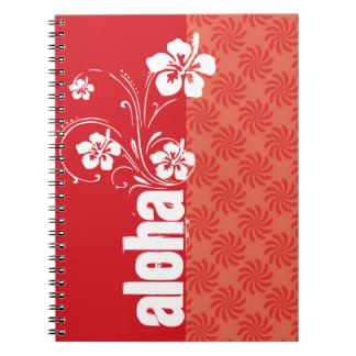 Coral & Red Swirl; Aloha Note Book