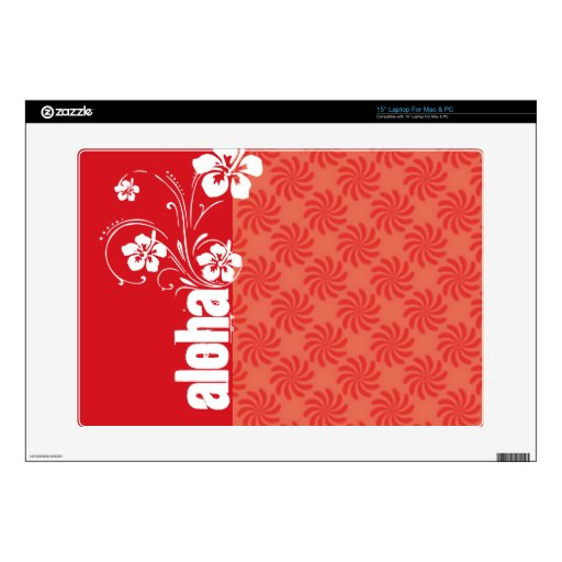 Coral & Red Swirl; Aloha Skins For Laptops