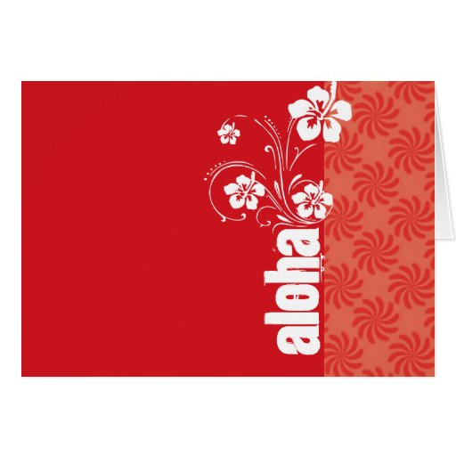 Coral & Red Swirl; Aloha Stationery Note Card