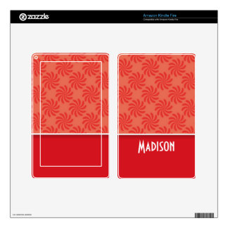 Coral & Red Swirl; Cute Decal For Kindle Fire