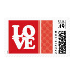 Coral & Red Swirl; Cute Postage Stamp