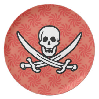 Coral & Red Swirl Jolly Roger, Pirate Plate