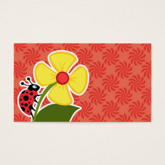 Coral & Red Swirl; Ladybug Business Card