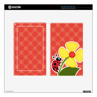 Coral & Red Swirl; Ladybug Skins For Kindle Fire