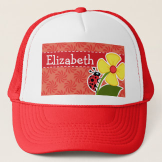 Coral & Red Swirl; Ladybug Trucker Hat