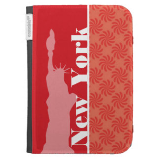 Coral & Red Swirl; NYC, statue of liberty Kindle Case