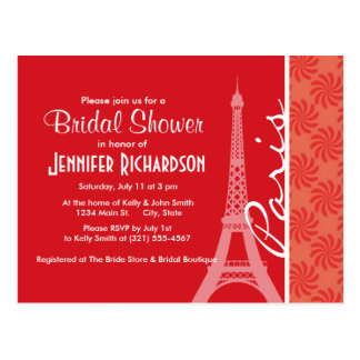 Coral & Red Swirl; Paris Postcard