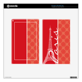 Coral & Red Swirl; Paris Kindle Fire Decals