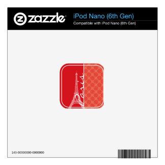 Coral & Red Swirl; Paris Skins For iPod Nano