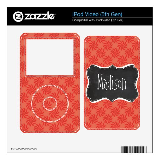 Coral & Red Swirl; Vintage Chalkboard Decals For iPod Video 5G