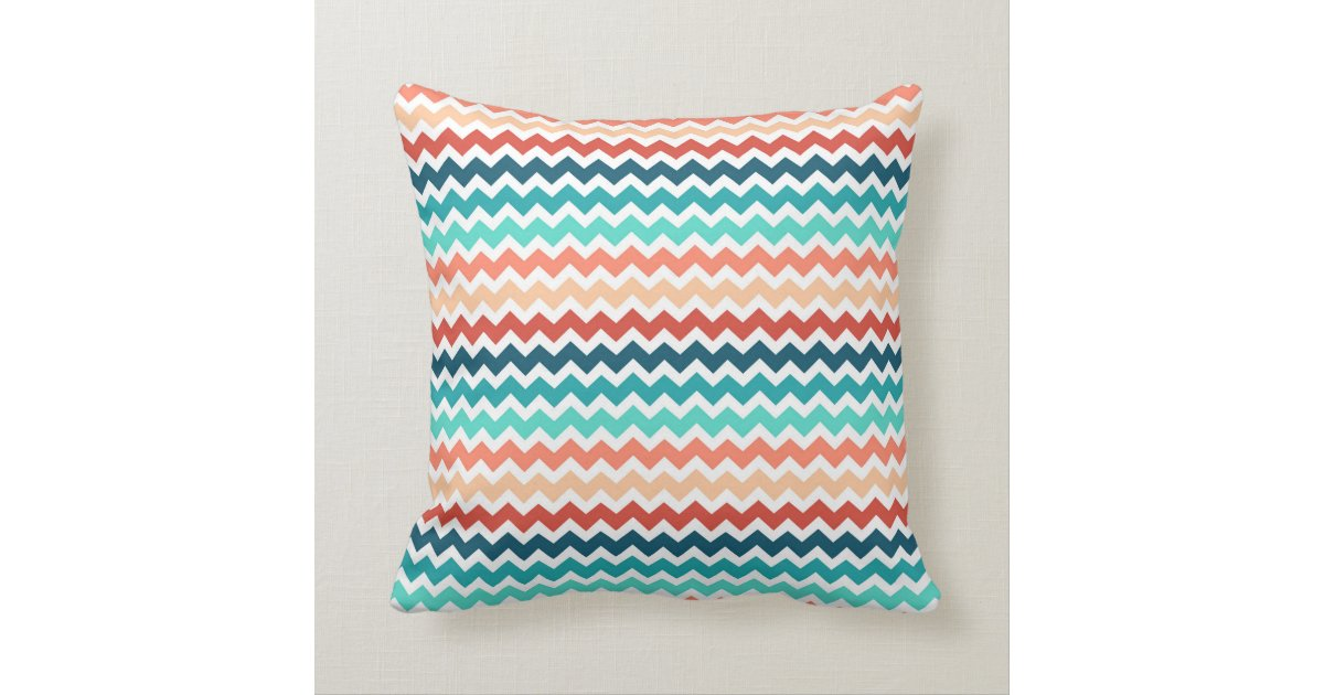 Teal And Red Decorative Pillows : Coral Red Teal Chevron Decorative Pillow Zazzle