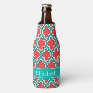 Coral Red, Teal Moroccan #4DS Teal Name Monogram Bottle Cooler