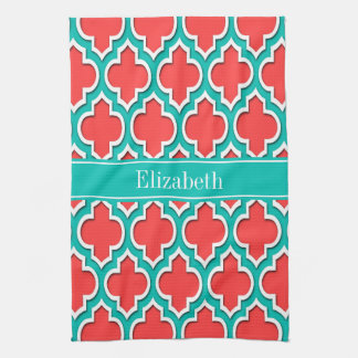Coral Red, Teal Moroccan #4DS Teal Name Monogram Kitchen Towel