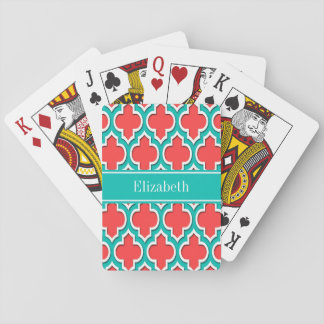 Coral Red, Teal Moroccan #4DS Teal Name Monogram Playing Cards