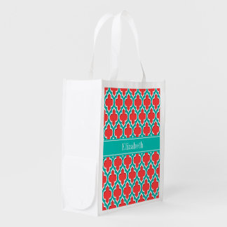 Coral Red, Teal Moroccan #4DS Teal Name Monogram Reusable Grocery Bag