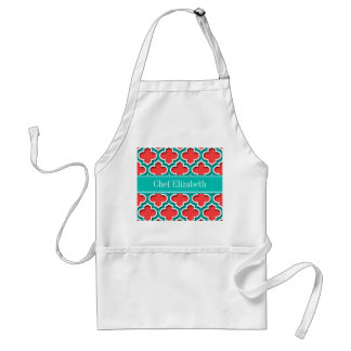 Coral Red, Teal Moroccan #5DS Teal Name Monogram Adult Apron