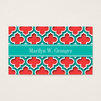 Coral Red, Teal Moroccan #5DS Teal Name Monogram Business Card