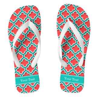 Coral Red, Teal Moroccan #5DS Teal Name Monogram Flip Flops