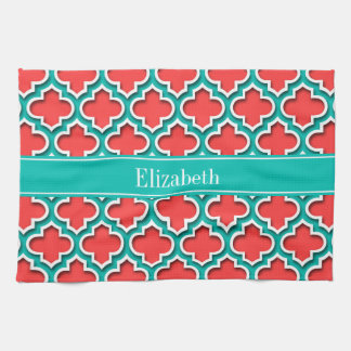 Coral Red, Teal Moroccan #5DS Teal Name Monogram Hand Towel