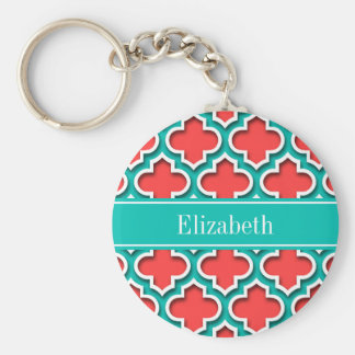 Coral Red, Teal Moroccan #5DS Teal Name Monogram Keychain