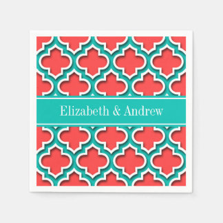 Coral Red, Teal Moroccan #5DS Teal Name Monogram Napkin