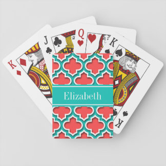 Coral Red, Teal Moroccan #5DS Teal Name Monogram Playing Cards